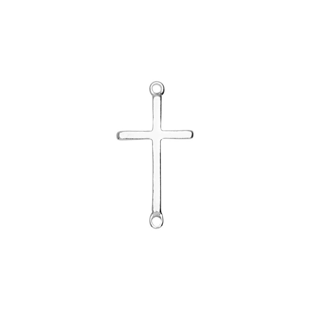 Connector Link, Cross with 2 Closed Loops 18.5x9.5mm, 1 Piece, Sterling Silver