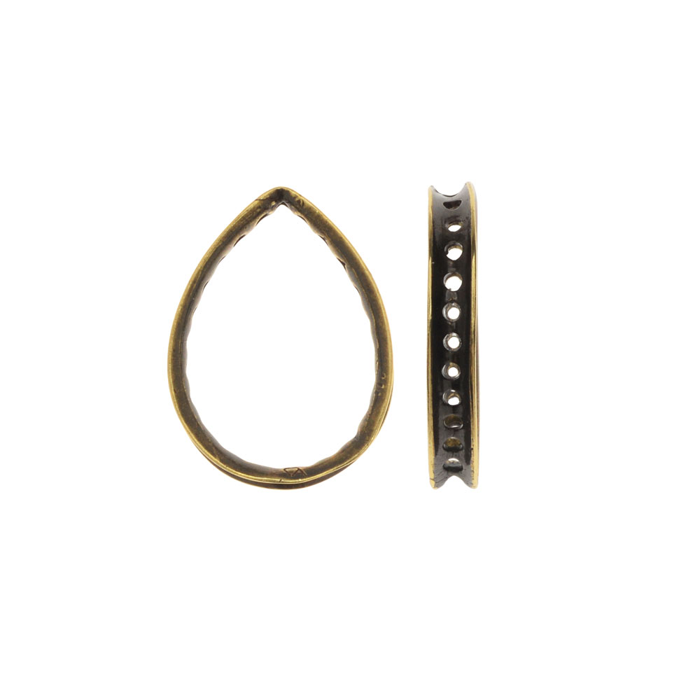 Eternity Style Bead Frame, Tear Drop with Holes for Wrapping 18.5x14mm, 1 Piece, Antiqued Brass