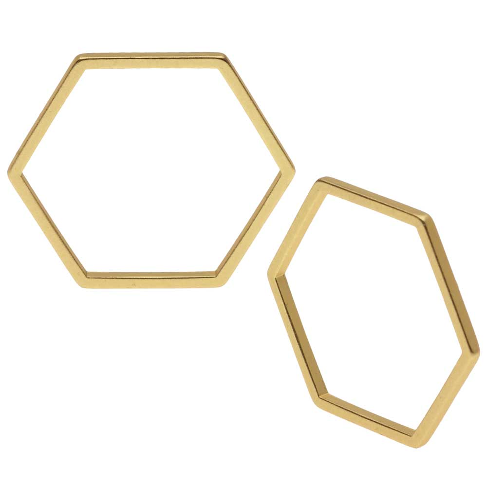 Open Bead Frame Links, Hexagon 17.5mm, 4 Pieces, Matte Gold Tone