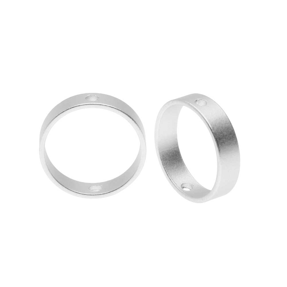 Open Bead Frame, Circle with Drilled Through Hole 10mm, 4 Pieces, Matte Silver Tone