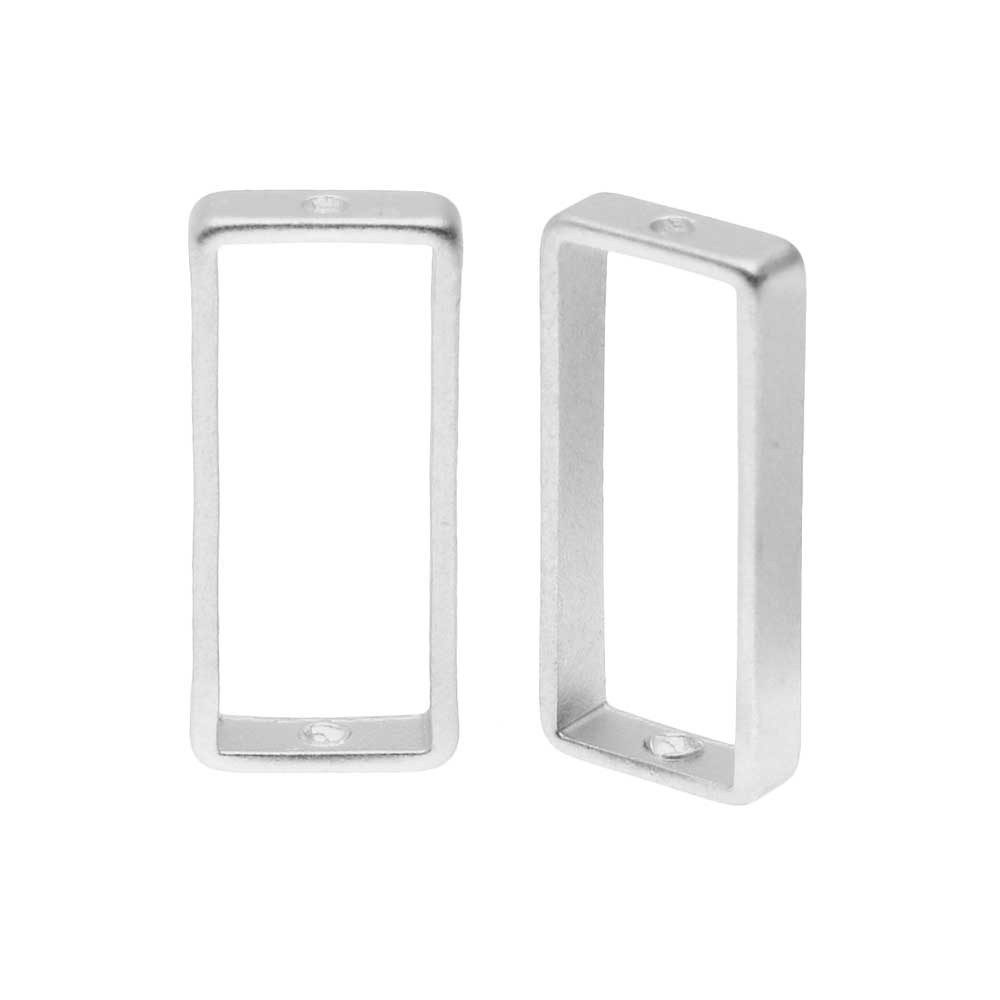 Open Bead Frame, Rectangle with Drilled Through Hole 7x17mm, 2 Pieces, Matte Silver Tone