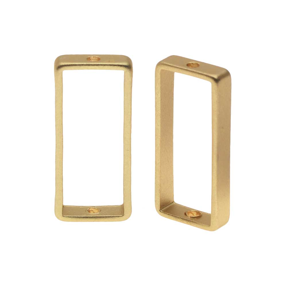 Open Bead Frame, Rectangle with Drilled Through Hole 7x17mm, 2 Pieces, Matte Gold Tone