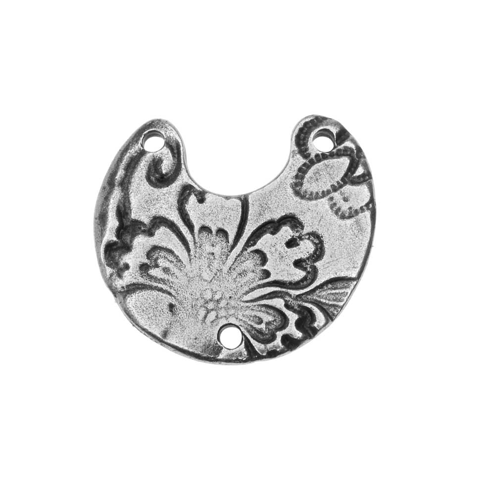 TierraCast Connector Link, Flora 3-Hole Crescent 19.5x21mm, 2 Pieces, Antiqued Pewter