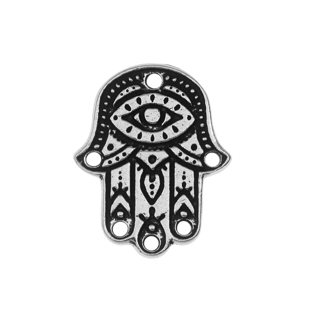 TierraCast Pendant Link, Hamsa Hand 17.5x22mm, 1 Piece, Antiqued Silver Plated