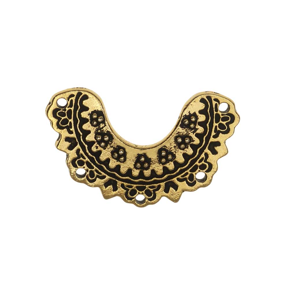 TierraCast Connector Link, Marrakesh Crescent 14.5x23mm, 1 Piece, Antiqued Gold Plated