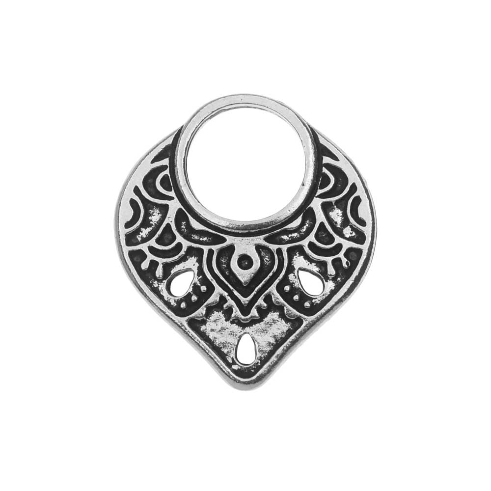 TierraCast Connector Link, Temple Ring 18.5x21mm, 1 Piece, Antiqued Silver Plated