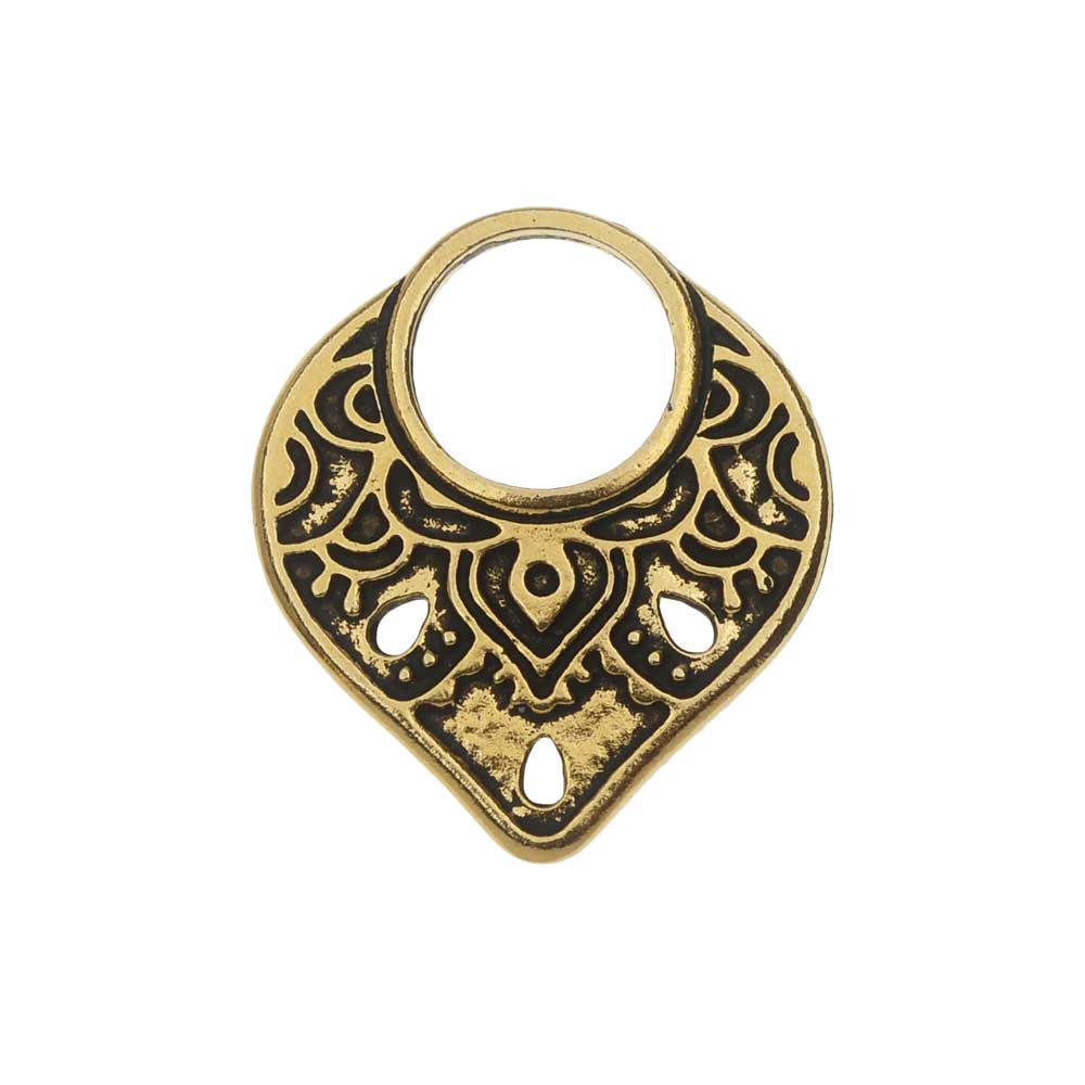 TierraCast Connector Link, Temple Ring 18.5x21mm, 1 Piece, Antiqued Gold Plated