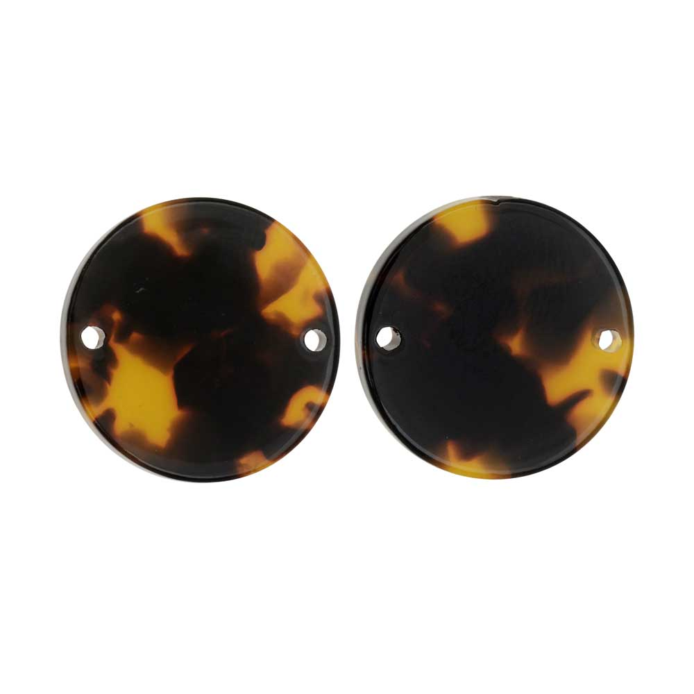 Zola Elements Acetate Connector Link, Coin 20mm, 2 Pieces, Brown Tortoise Shell