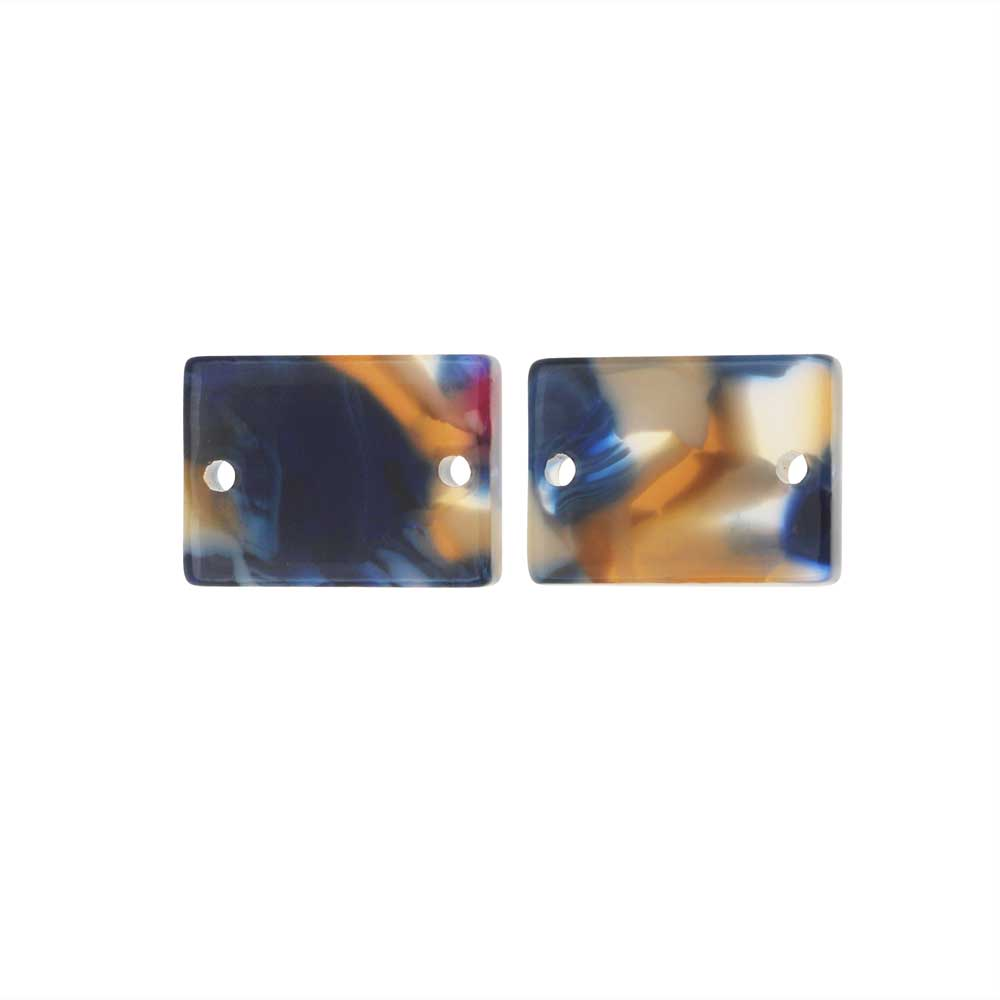 Zola Elements Acetate Connector Link, Twilight Rectangle 14x10mm, 2 Pieces, Blue Multi-Colored