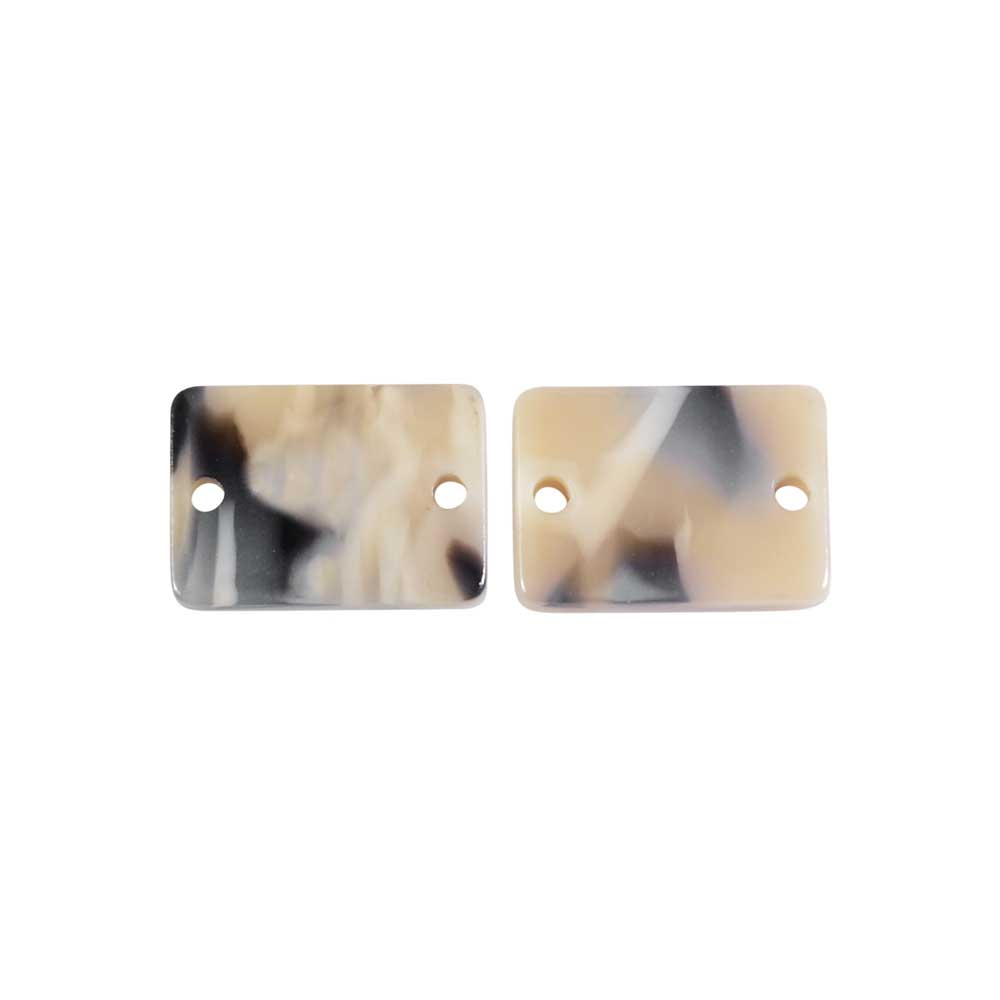 Zola Elements Acetate Connector Link, Rectangle 14x10mm, 2 Pieces, Black Pearl Multi-Colored