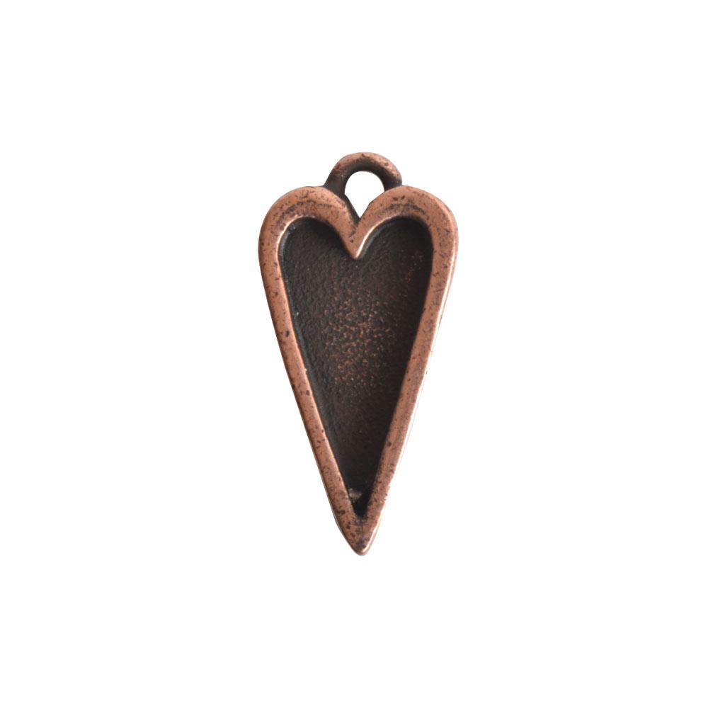 Nunn Design Bezel Charm, Itsy Heart 10x20mm, 1 Piece, Antiqued Copper