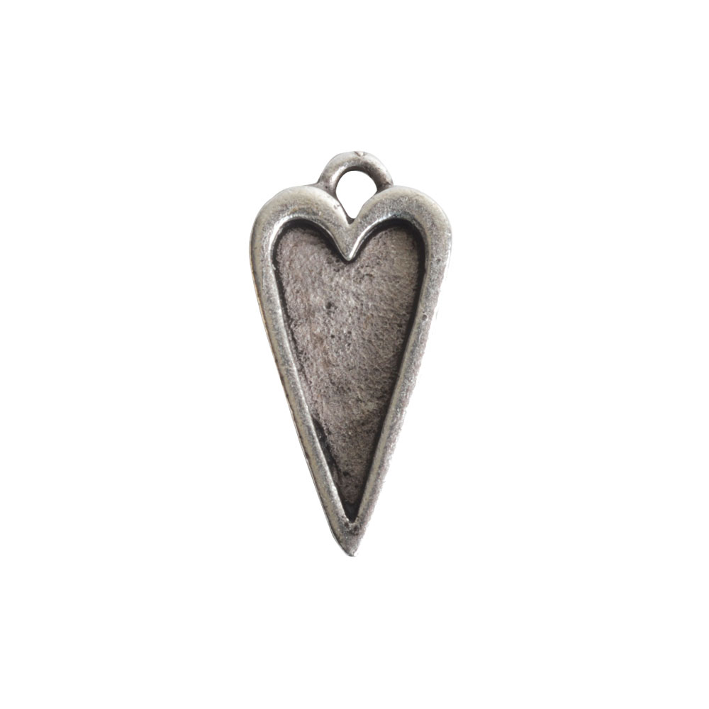 Nunn Design Bezel Charm, Itsy Heart 10x20mm, 1 Piece, Antiqued Silver