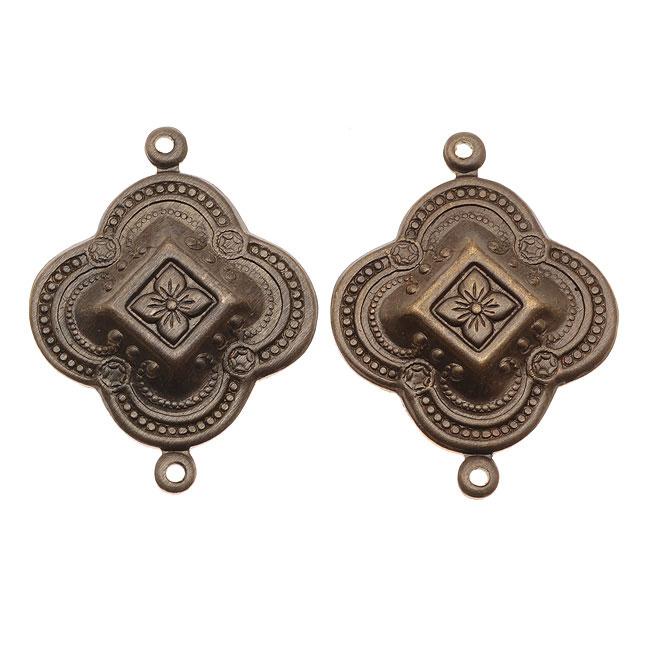Vintaj Natural Brass Bangalore Detail 2 Hole Connector Beads 29 x 23mm (2)