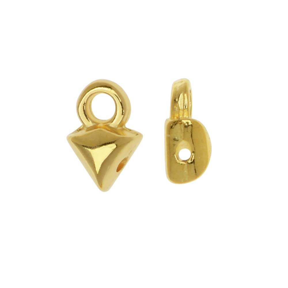 Cymbal Bead Endings fit GemDuo Beads, Kleftiko, 7mm, 4 Pieces, 24kt Gold Plated
