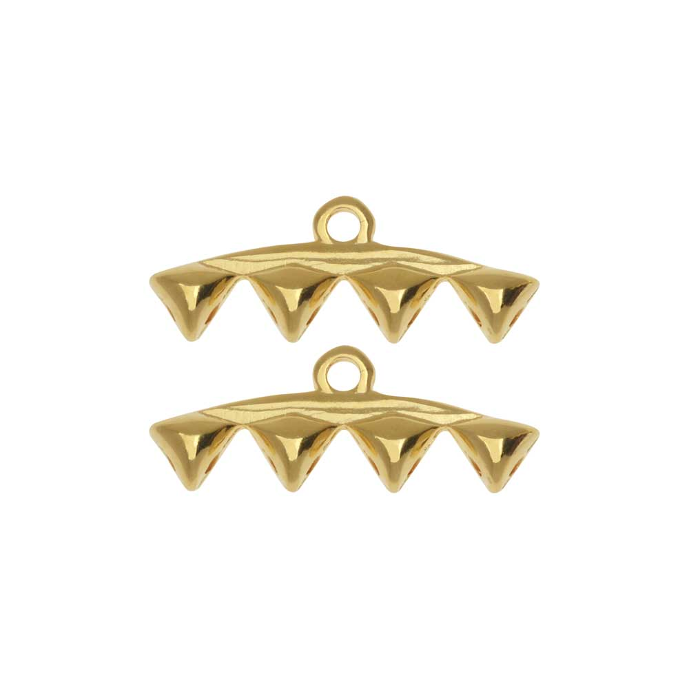 Cymbal Bead Endings fit GemDuo Beads, Vani IV, 8mm, 2 Pieces, 24kt Gold Plated