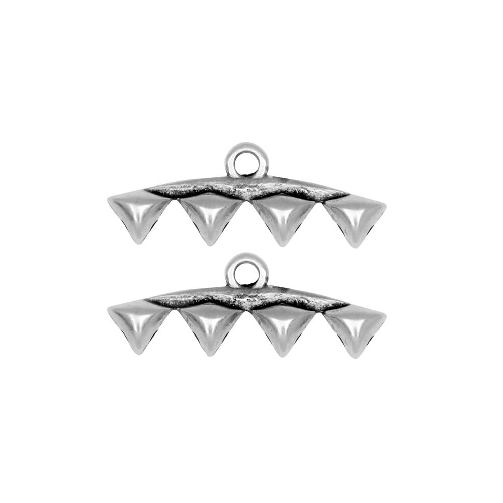 Cymbal Bead Endings fit GemDuo Beads, Vani IV, 8mm, 2 Pieces, Antiqued Silver