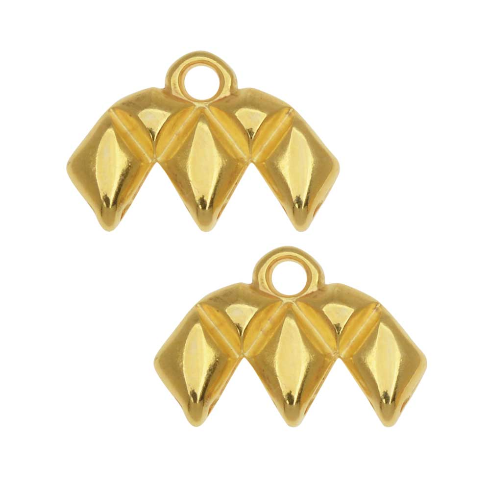 Cymbal Bead Endings fit GemDuo Beads, Kalamos III, 10.5mm, 2 Pieces, 24kt Gold Plated