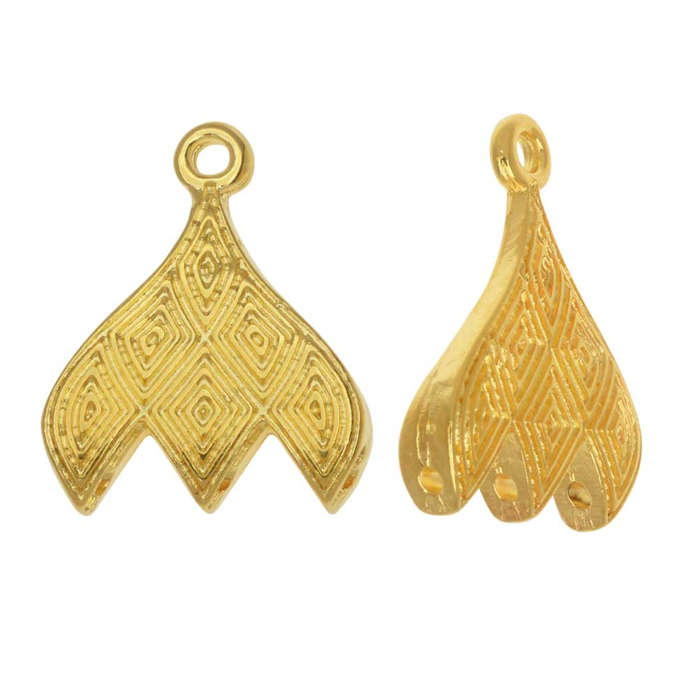 Cymbal Bead Endings fit GemDuo Beads, Tourlos III, 18mm, 2 Pieces, 24kt Gold Plated