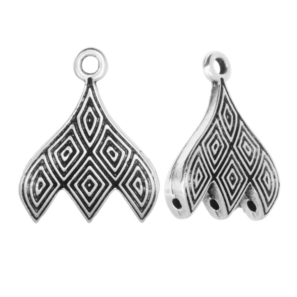 Cymbal Bead Endings fit GemDuo Beads, Tourlos III, 18mm, 2 Pieces, Antiqued Silver