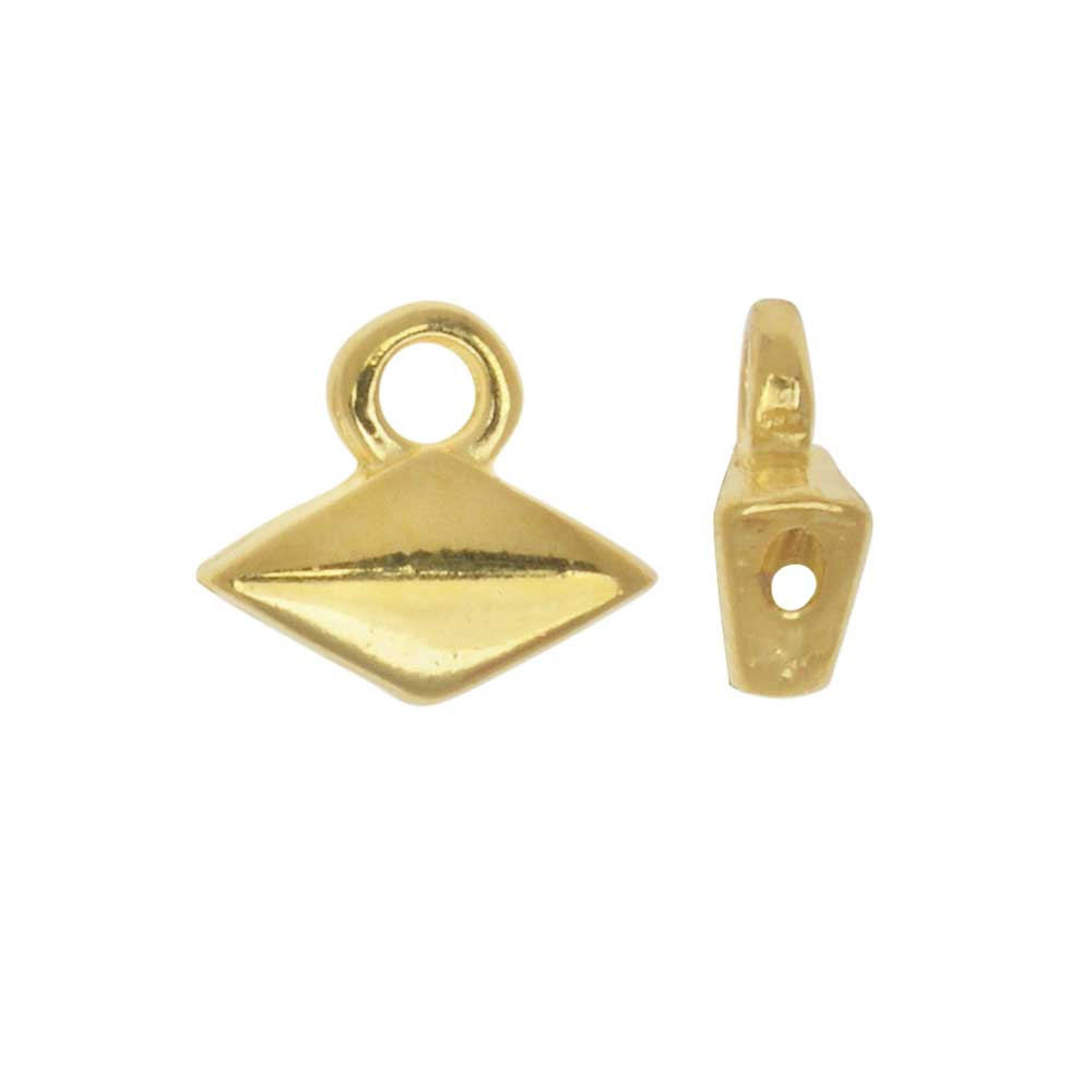 Cymbal Bead Endings fit GemDuo Beads, Komia, 6.5mm, 4 Pieces, 24kt Gold Plated