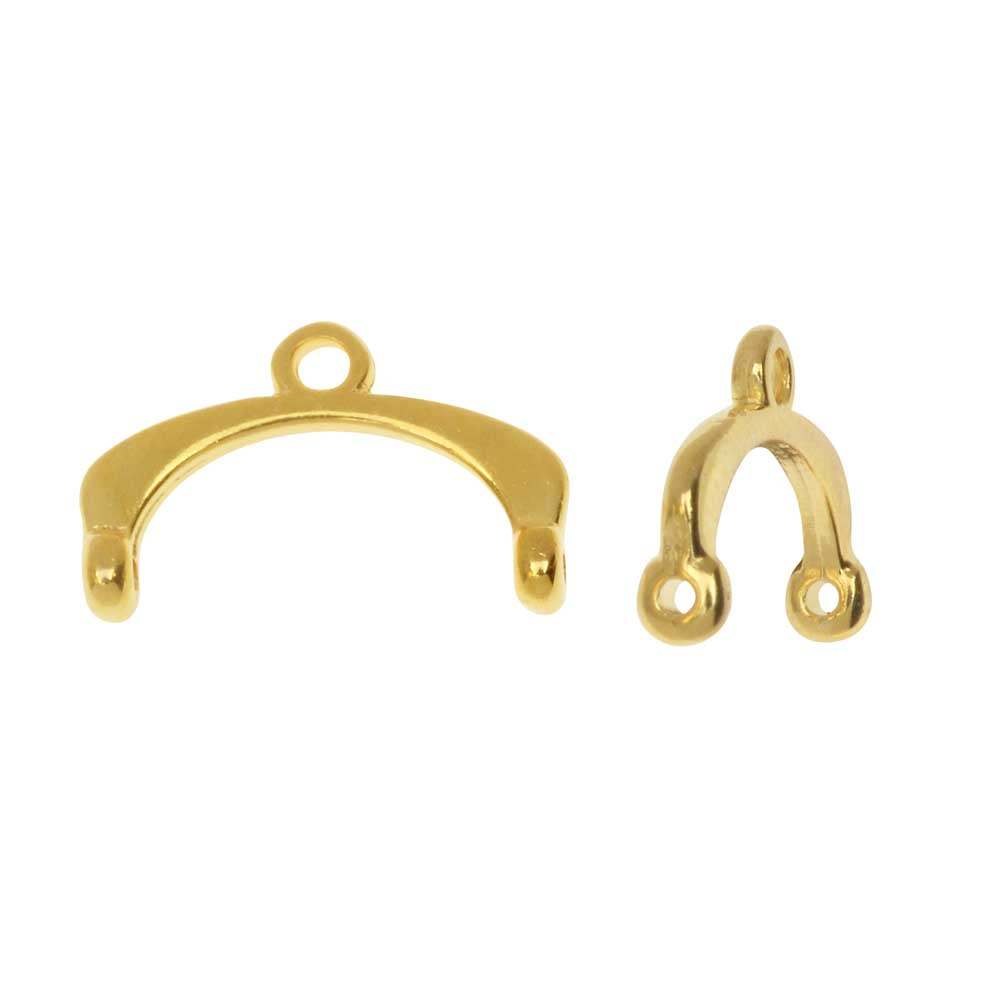Cymbal Bead Endings fit 11/0 Delica & Round Beads, Fres II, 9.5mm, 2 Pieces, 24kt Gold Plated