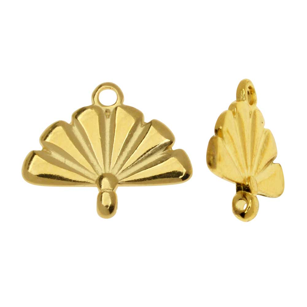 Cymbal Bead Endings fit 8/0 Round Beads, Sitia, 12.5mm, 2 Pieces, 24kt Gold Plated