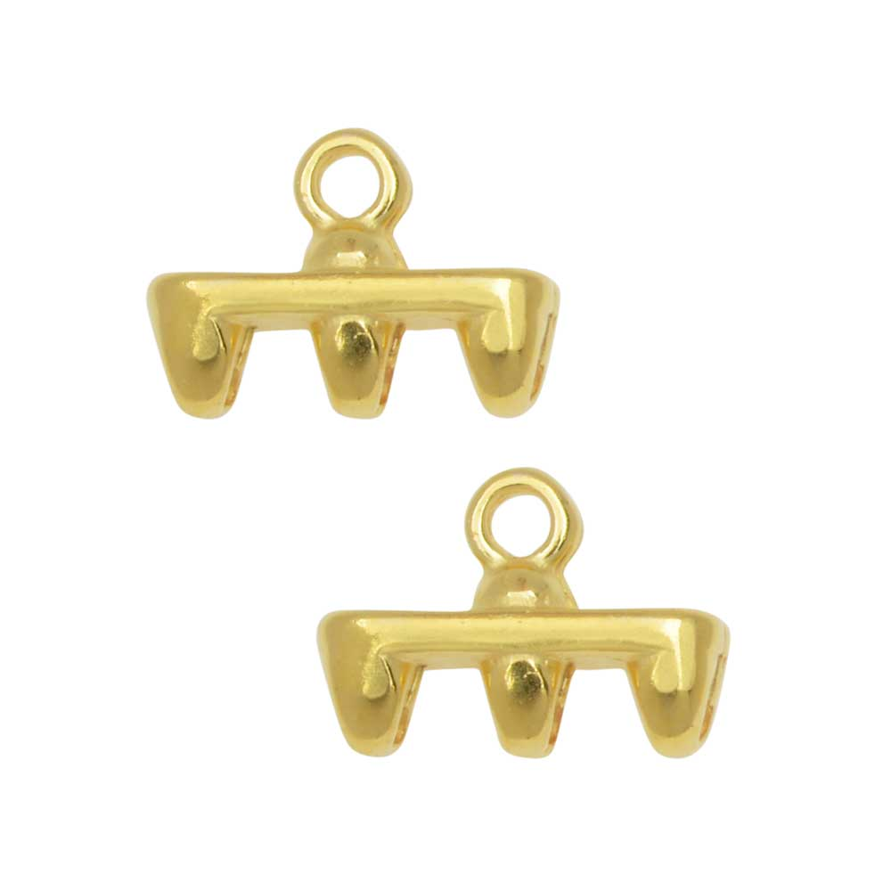 Cymbal Bead Endings fit Superduo Beads, Rozos III, 8mm, 2 Pieces, 24kt Gold Plated