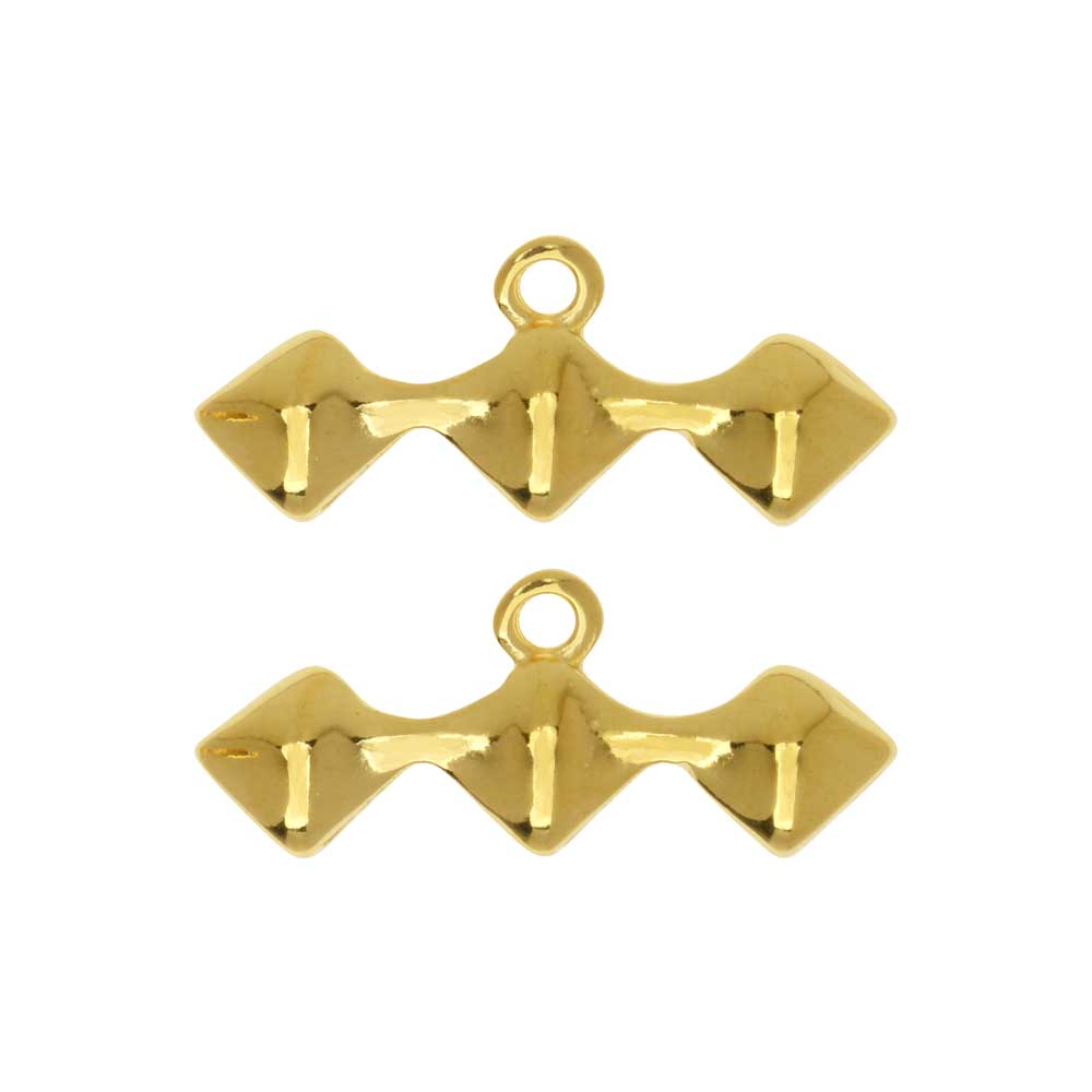 Final Sale - Cymbal Bead Endings fit Silky Beads, Kionia III, 10mm, 2 Pieces, 24kt Gold Plated