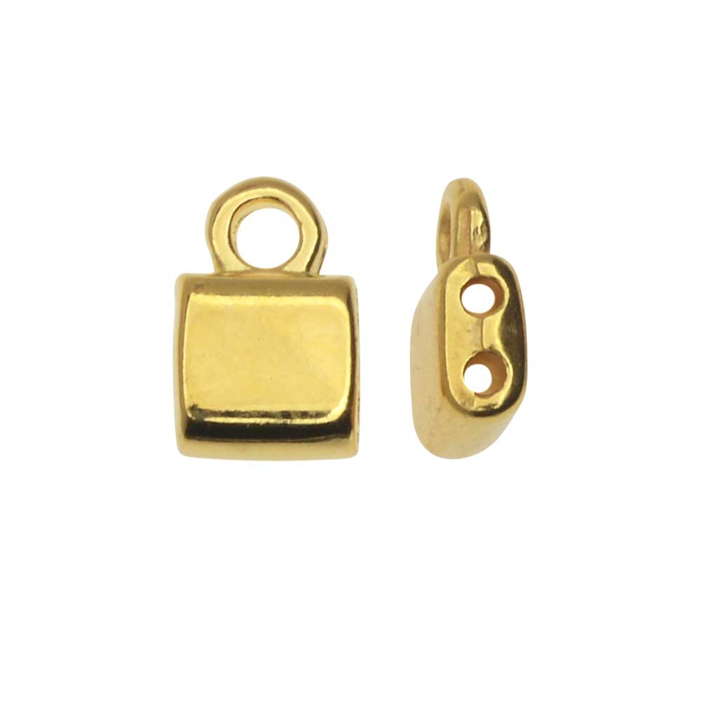 Cymbal Bead Endings fit Tila Beads, Piperi, 7.5mm, 4 Pieces, 24kt Gold Plated