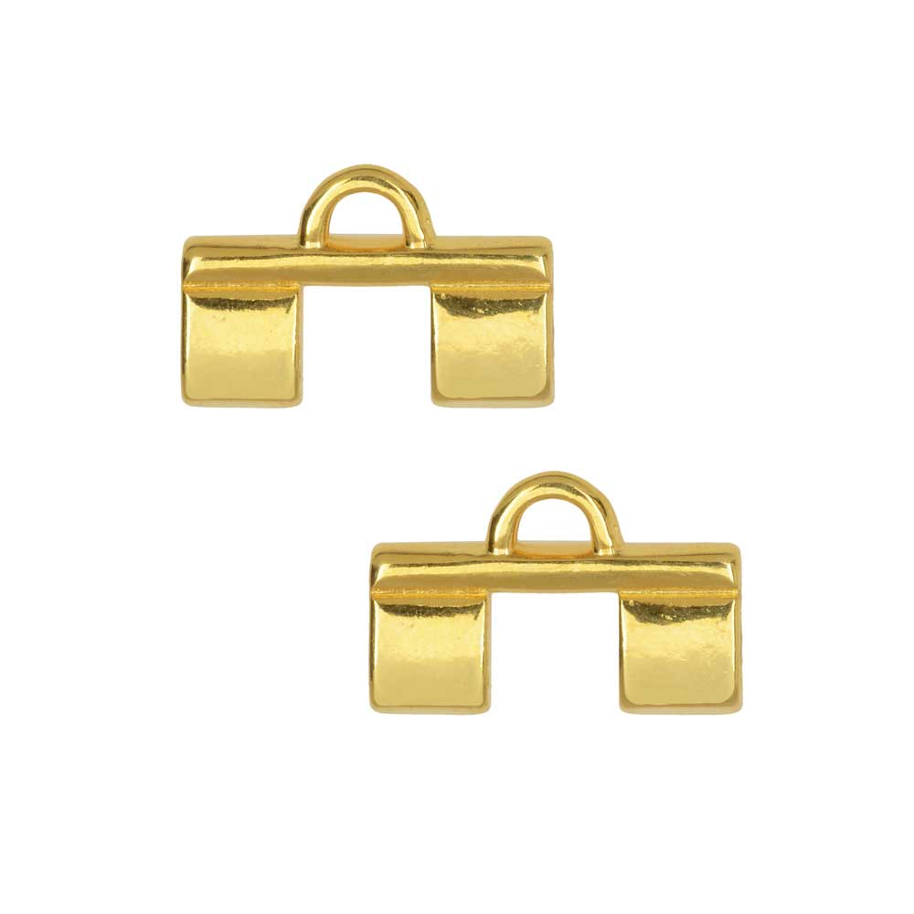 Cymbal Bead Endings fit Tila Beads, Piperi II, 10mm, 2 Pieces, 24kt Gold Plated