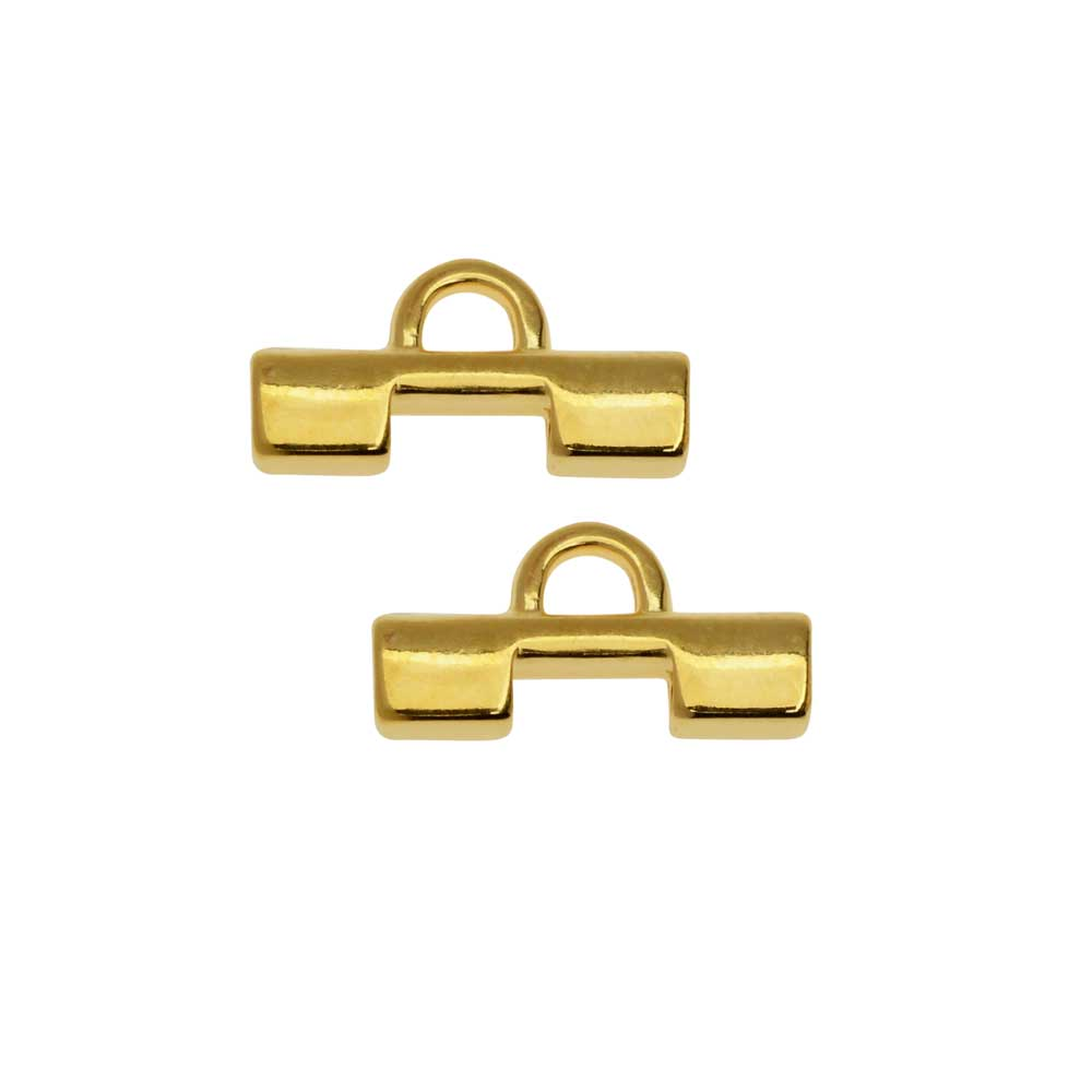 Cymbal Bead Endings fit Tila Beads, Soros II, 7.5mm, 2 Pieces, 24kt Gold Plated
