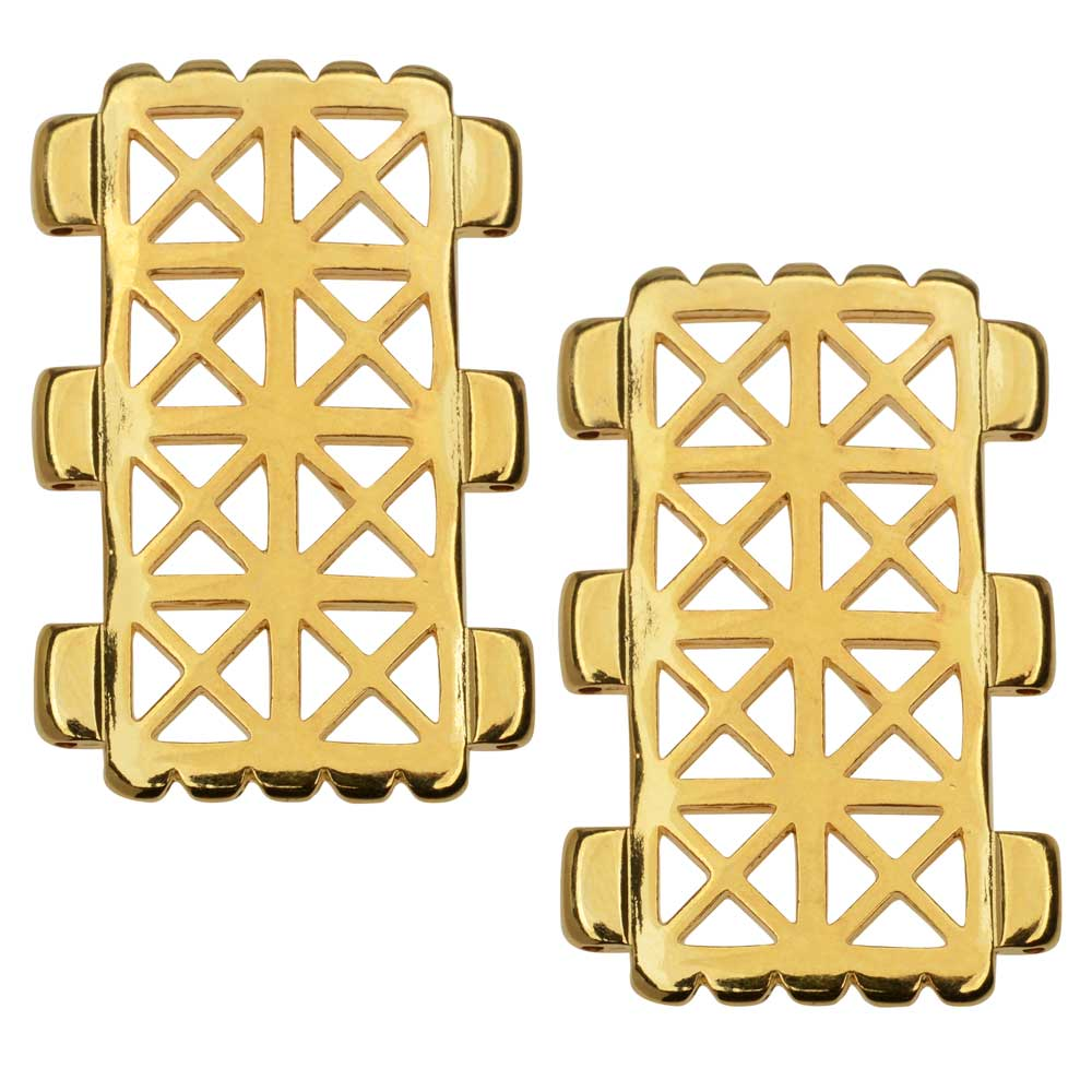 Cymbal Connector fits Tila Beads, Faragas, Rectangle 30.5mm, 2 Pieces, 24k Gold Plated