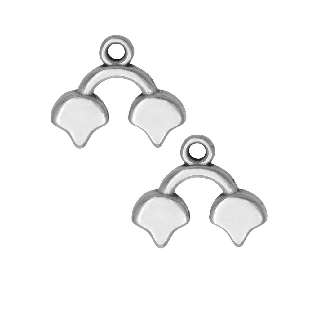 Cymbal Bead Endings for Ginko Beads, Kastro II, 14x16mm, 2 Pieces, Antiqued Silver Plated