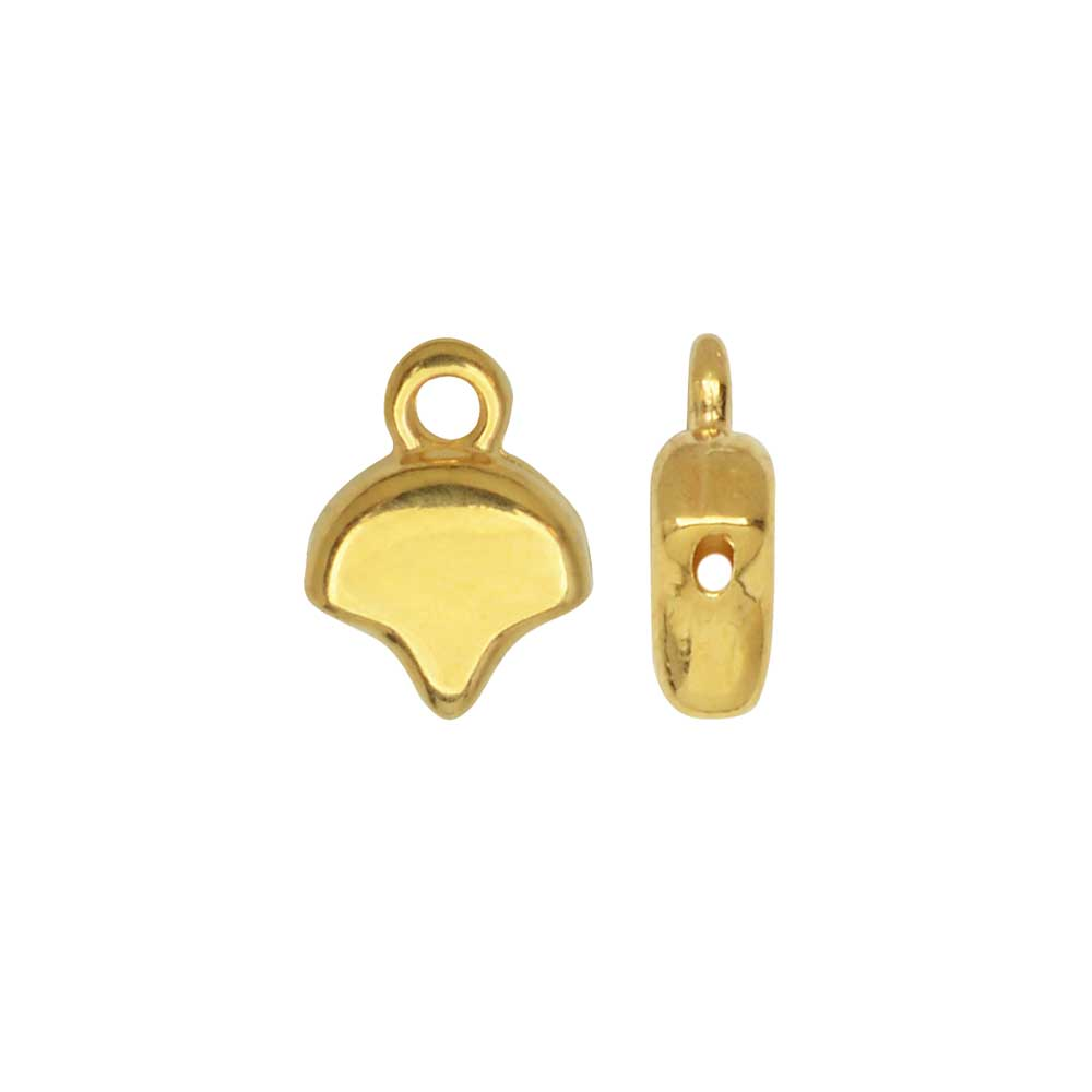 Cymbal Bead Endings for Ginko Beads, Kastro, 10x7mm, 2 Pieces, 24k Gold Plated