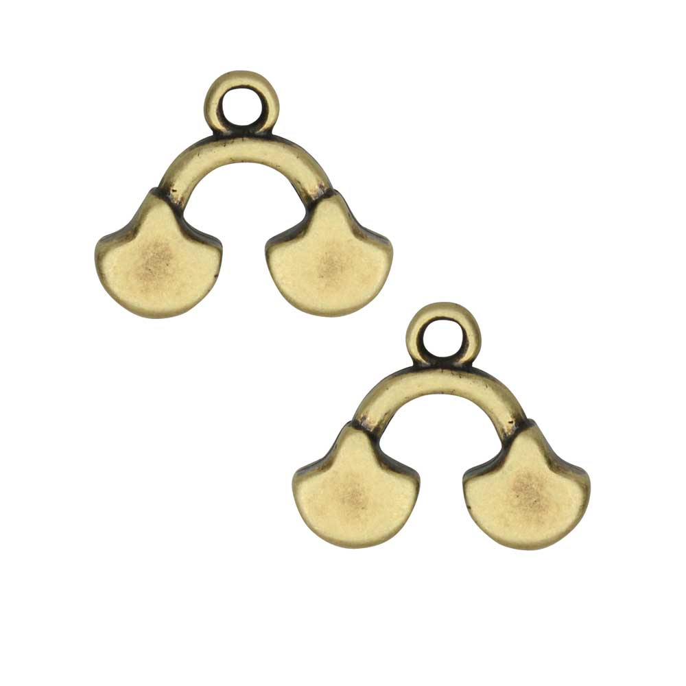 Cymbal Bead Endings for Ginko Beads, Karavos II, 14x16mm, 2 Pieces, Antiqued Brass Plated