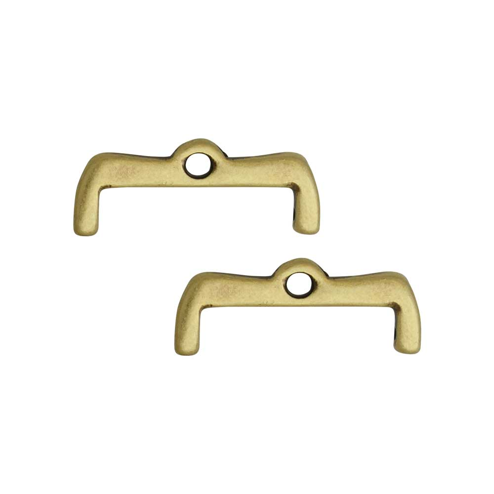 Cymbal Bead Endings for 8/0 Delica & Round Beads, Maronia II, 7x18.5mm, 2 Pieces, Antiqued Brass Plated