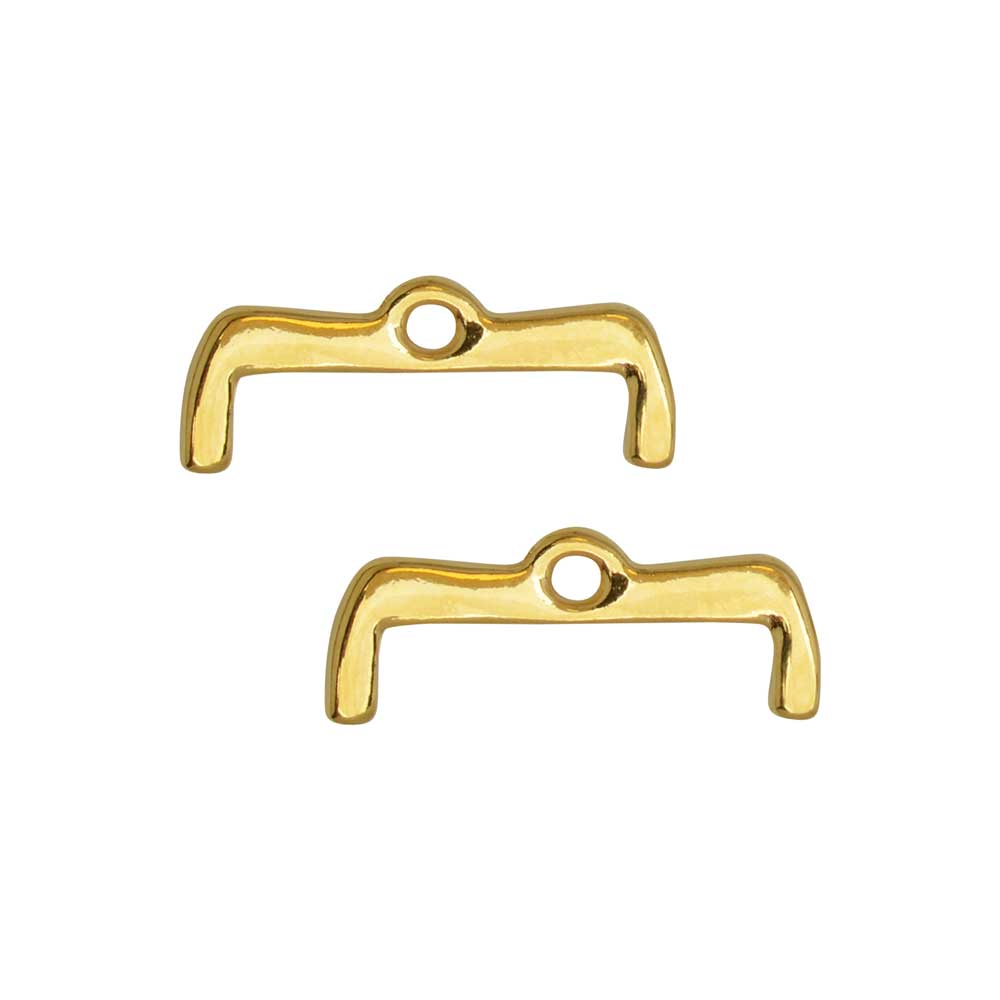 Cymbal Bead Endings for 8/0 Delica & Round Beads, Maronia II, 7x18.5mm, 2 Pieces, 24k Gold Plated