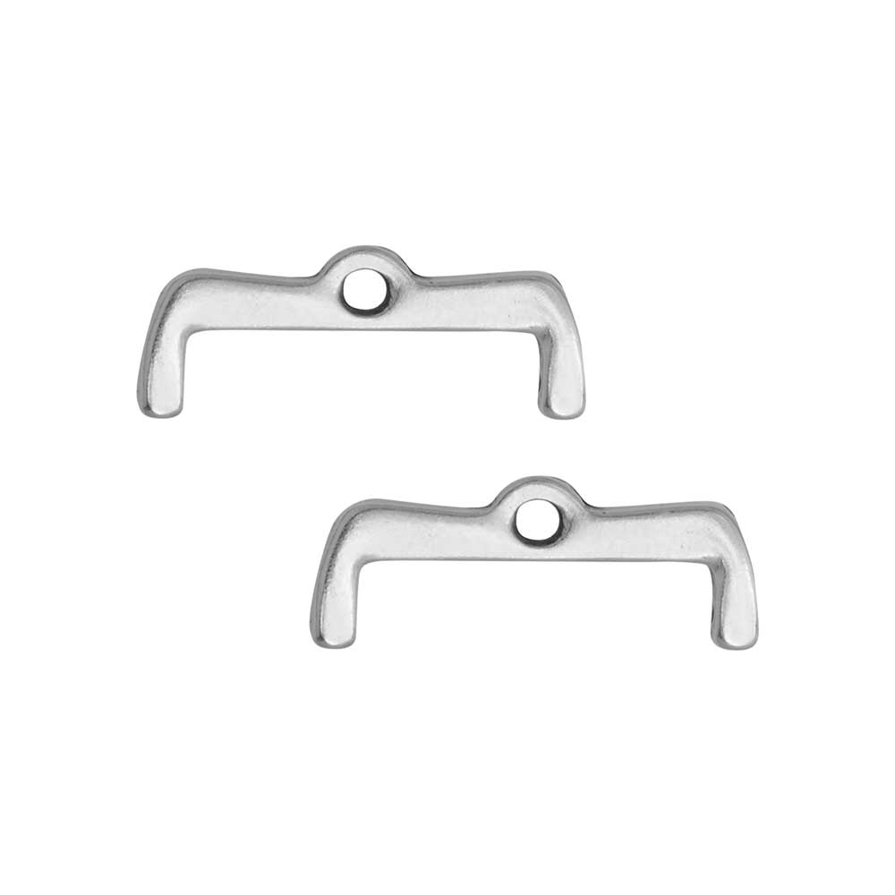 Cymbal Bead Endings for 8/0 Delica & Round Beads, Maronia II, 7x18.5mm, 2 Pieces, Antiqued Silver Plated