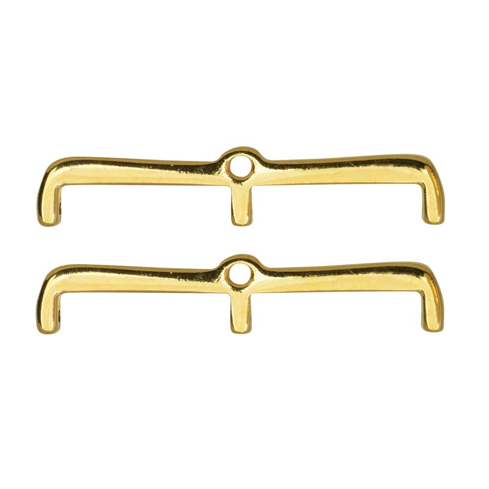 Cymbal Bead Endings for 8/0 Delica & Round Beads, Maronia III, 7x35mm, 2 Pieces, 24k Gold Plated