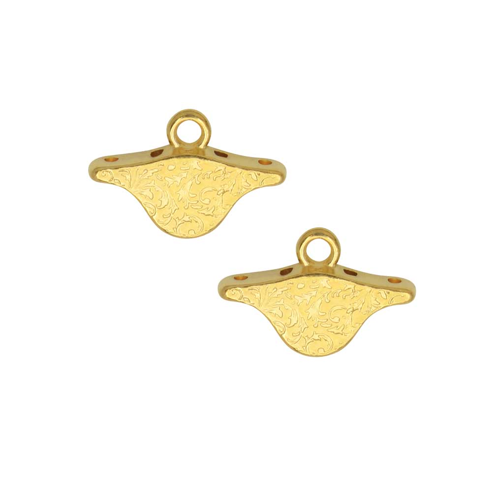 Cymbal Bead Endings for PaisleyDuo Beads, Aosa, 10x15mm, 2 Pieces, 24k Gold Plated