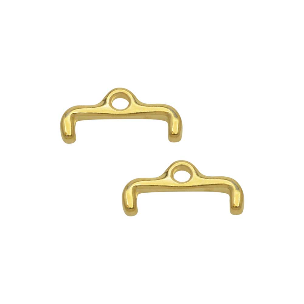 Cymbal Bead Endings for 11/0 Delica & Round Beads, Skafi II, 6x13.5mm, 2 Pieces, 24k Gold Plated