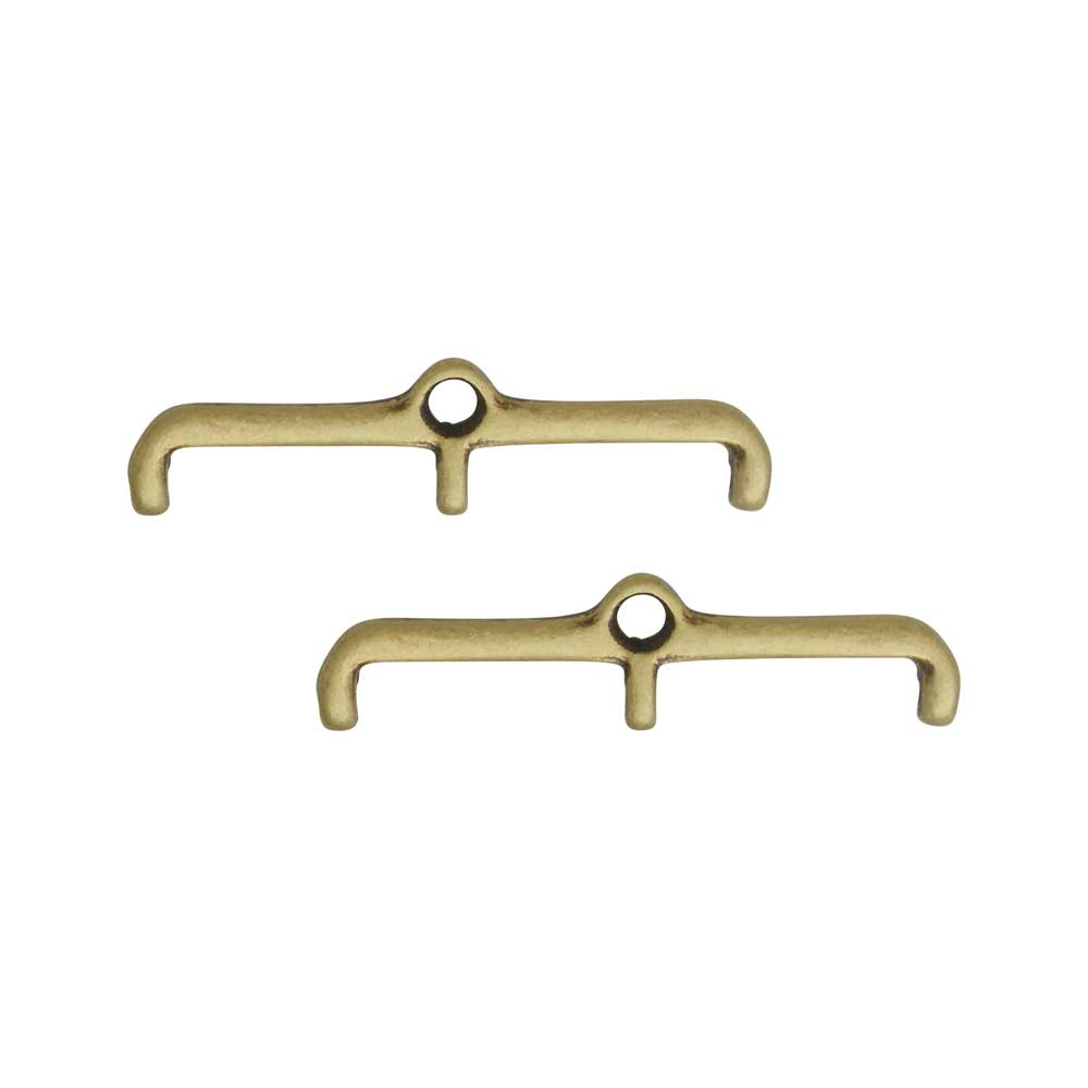 Cymbal Bead Endings for 11/0 Delica & Round Beads, Skafi III, 6x24.5mm, 2 Pieces, Antiqued Brass Plated