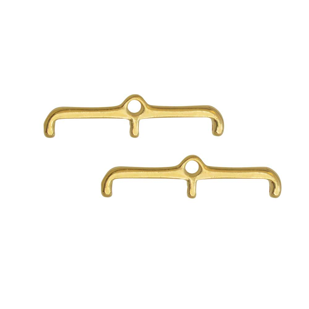 Cymbal Bead Endings for 11/0 Delica & Round Beads, Skafi III, 6x24.5mm, 2 Pieces, 24k Gold Plated
