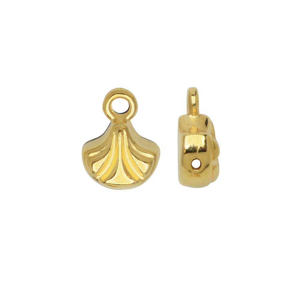 Cymbal Bead Endings for Ginko Beads, Padanassa, 10x7mm, 2 Pieces, 24k Gold Plated