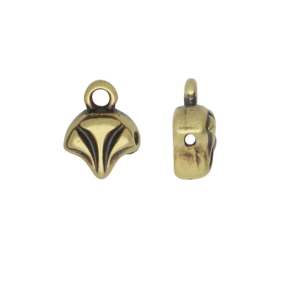 Cymbal Bead Endings for Ginko Beads, Modestos 10x7mm, 2 Pieces, Antiqued Brass Plated