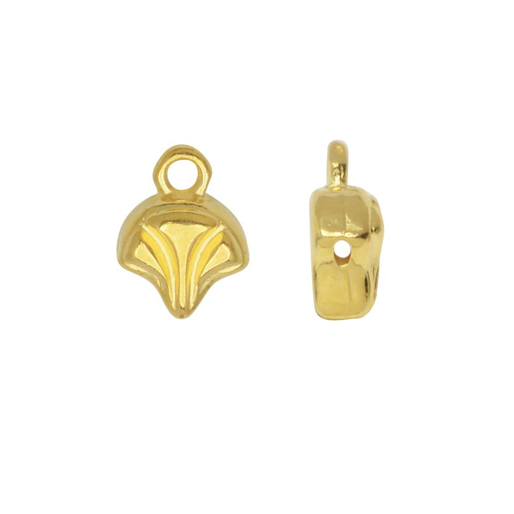 Cymbal Bead Endings for Ginko Beads, Modestos 10x7mm, 2 Pieces, 24k Gold Plated