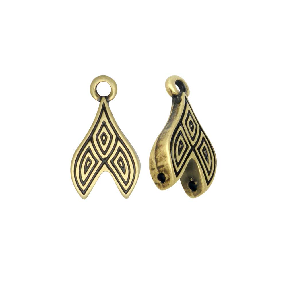 Cymbal Bead Endings GemDuo Beads, Tourlos II, 9x16.5mm, 2 Pieces, Antiqued Brass Plated