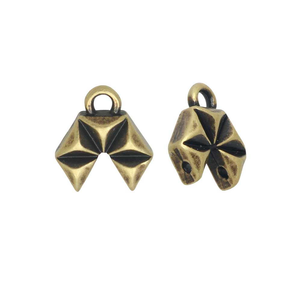 Cymbal Bead Endings GemDuo Beads, Voudia II, 9x10.5mm, 2 Pieces, Antiqued Brass Plated
