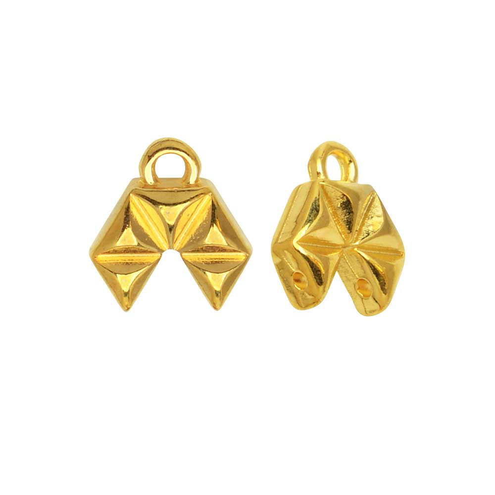 Cymbal Bead Endings GemDuo Beads, Voudia II, 9x10.5mm, 2 Pieces, 24k Gold Plated