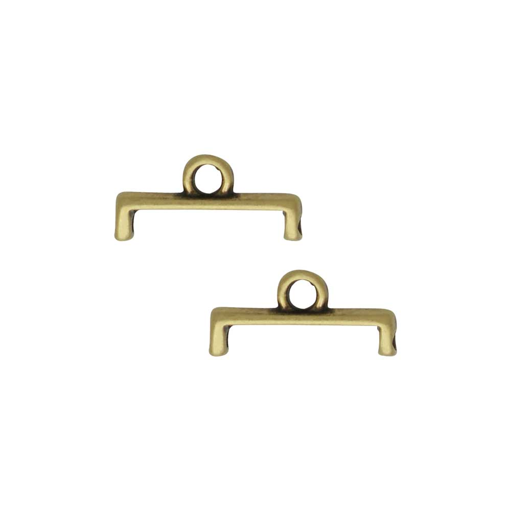 Cymbal Bead Endings for 11/0 Delica & Round Beads, Topolia II, 5.5x11.5mm, 4 Pieces, Antiqued Brass Plated